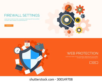 Flat vector illustration. Shield and firewall settings. Web data protection. Antivirus. Internet connection.