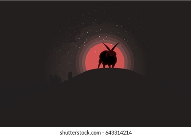 A flat vector illustration of a silhouetted satanic horned sheep on a hill, in front of a city during a blood moon.