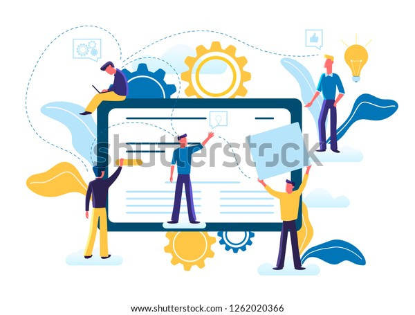 Flat vector illustration of small people are working together on creating a site design on computer monitor, website, applications. Site constructor, website builder, online service page, web design