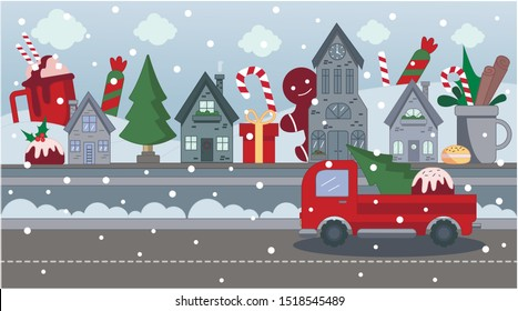 Flat vector illustration of a small town with sweets. On the street are sweets, muffins, lollipops. Christmas city in the snow. On the road goes a red tractor with a Christmas tree and gifts.