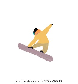 Flat vector illustration - Snowboarding