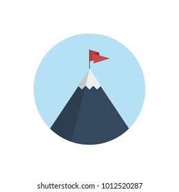 Flat vector illustration of snowy mountain with flag on top