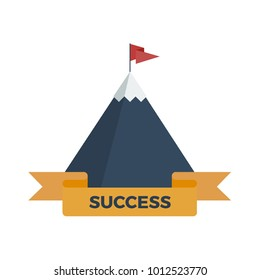 Flat vector illustration of snowy mountain with success ribbon and flag on top
