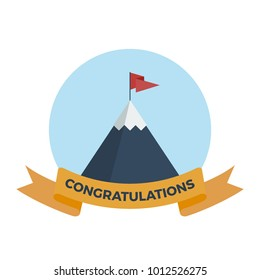 Flat vector illustration of snowy mountain with congratulations ribbon and flag on top
