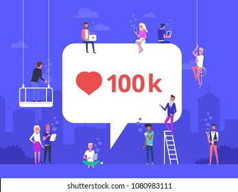Flat vector illustration of social media bubble with red heart symbol. Young people using mobile gadgets such as laptop, tablet pc and smartphone for networking and collecting likes and comments.