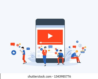 flat Vector illustration social media and video marketing content online concept with business people character use mobile  concept