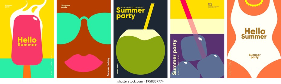 Flat vector illustration. Summer time, background patterns on the theme of summer, vacation, weekend, beach. Perfect background for posters, cover art, flyer, banner.