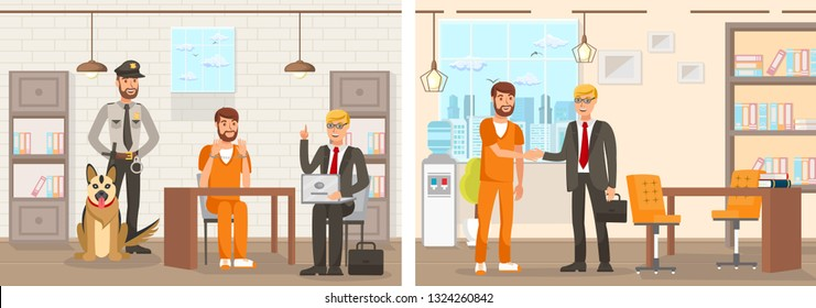 Flat Vector Illustration System Works Law Firm. Confinement Cell Man in an Orange Jumpsuit is Sitting at Table in Handcuffs Lawyer with Laptop Explains Right. Prisoner is Released and Thanks Lawyer.