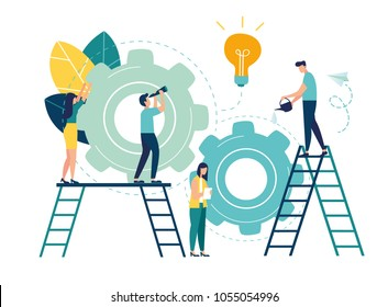 Flat vector illustration, teamwork on finding new ideas, little people launch a mechanism, search for new solutions, creative work