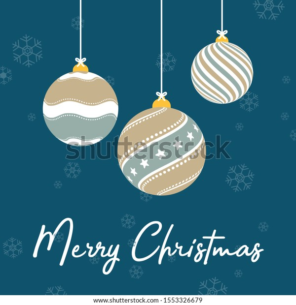 Flat vector illustration of three Christmas ornaments hanging on bow tie ropes with snow and Merry Christmas text on night background. Each pattern has lines, dots and stars in brown, gray, white.