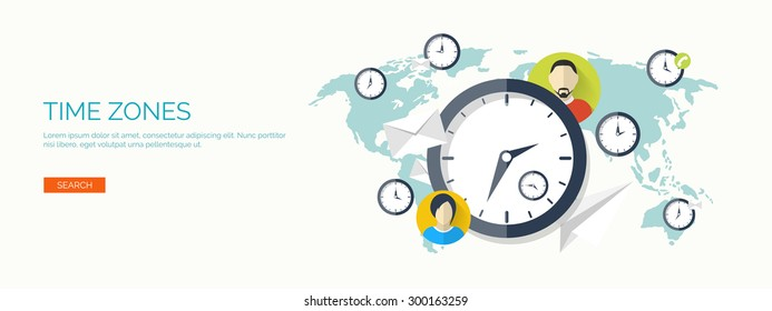 Flat vector illustration. Time and date. Clock, management. Time zones.