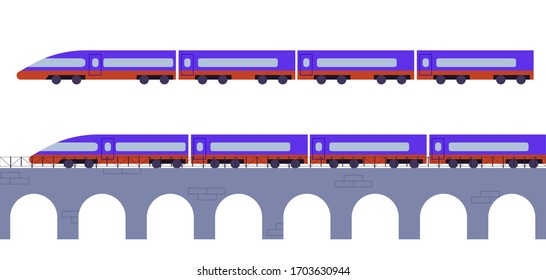 Flat vector illustration: train. The train rides on the bridge.