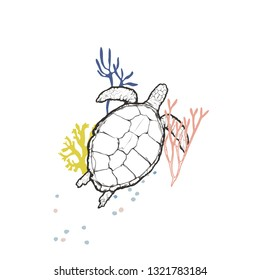 Flat vector illustration - Turtle with the corals isolated on white background