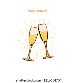 Flat vector illustration - Two sparkling glasses of champagne