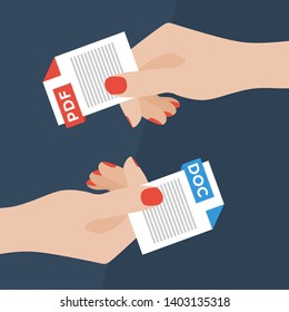 Flat Vector Illustration of Two Women Hands Exchanging File Formats. Hands Converting Different Formats. Convert PDF to DOC. File Format Conversion. Flat Icons