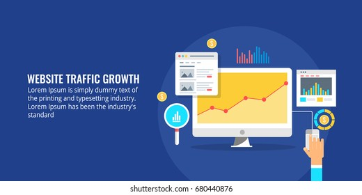 Flat vector illustration for website traffic growth, data analytics, web visitors, marketing report isolated on dark background