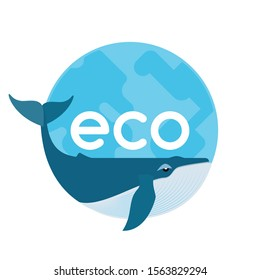 Flat vector illustration of whale and Earth icon. Saving whales. Protecting endangered species and preserving ecosystem. Graphic design elements for print and web.