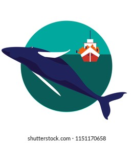 Flat vector illustration of whale watching. Ecotourism site icon.