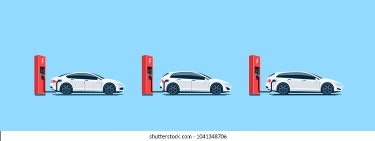 Flat vector illustration of white electric cars parking on the street and charging at the charger stations isolated on light blue background. Electromobility e-motion concept.