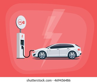 Flat vector illustration of a white electric car charging at the charger station with road sign. Electromobility eco e-motion concept. Electric car charging on red background.