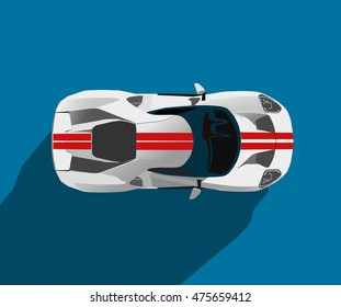 Flat vector illustration of a white  sports car