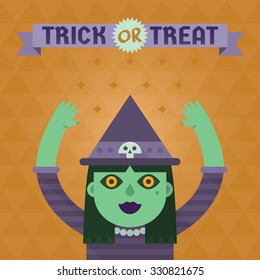 Flat vector illustration with witch. Happy Halloween card.