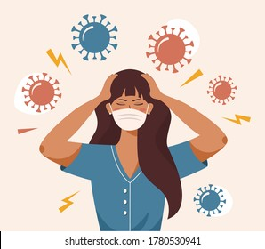 Flat vector illustration of a woman that clutches at head with both hands. Covid 19 causes headache, panic, fright, depression. Stress, irritation from coronavirus, badmood