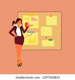 Flat vector illustration - Women presenting the research report