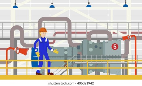 Flat Vector Illustration of Worker Doing Gas Turbines Maintenance Industry Installations power.