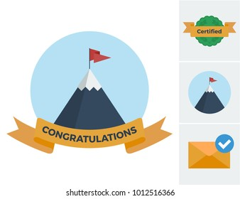 Flat vector illustrations featuring a congratulations theme