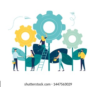 Flat vector illustrations, team work on finding new ideas, little people start the mechanism as a plant, search for new solutions, creative work