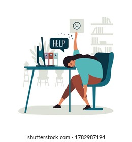 Flat vector illustrations Worker burnout. Emotional burnout. A tired worker is sitting at the table. Long working day in the office. Mental health problem.