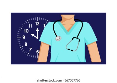 Flat vector image of a doctor with a clock behind him and a night-time background