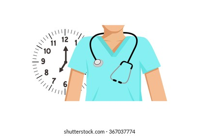 Flat vector image of a doctor with a clock behind him