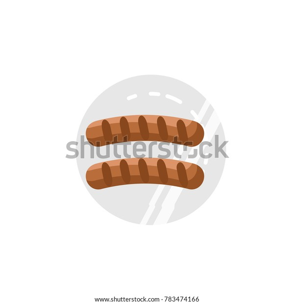 flat vector image of fried sausages