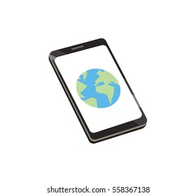 Flat vector image of a globe on a smart phone screen