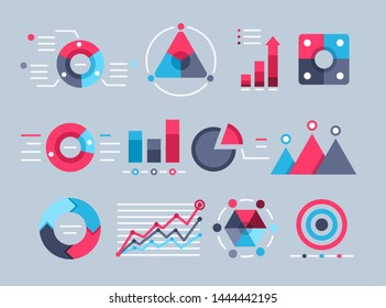 flat vector image on gray background, set of business icons in the form of graphs and diagrams, economics and finance on the Internet, statistical data