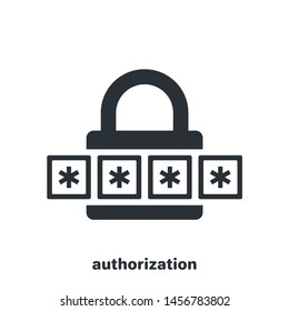 flat vector image on white background, door lock icon and code, user authorization