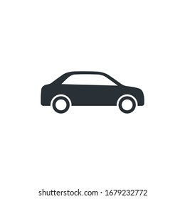 flat vector image on a white background, car icon in the form of a silhouette in black
