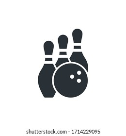 flat vector image on a white background, bowling icon, ball and three skittles