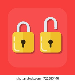 Flat vector image of an open and closed padlock. Illustration isolated on a colored background