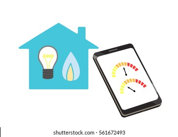 Flat vector image of a smart phone with gauges and a house with lightbulb and gas flame