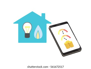Flat vector image of a smart phone with gauges and coins in front of a house with lightbulb and gas flame