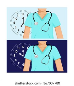 Flat vector images of two doctors with a clocks behind them - one with a day-time background and the other a night-time background