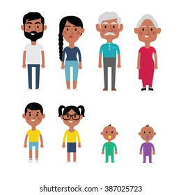 Flat vector indian family members. Parents, grandparents, children and baby.