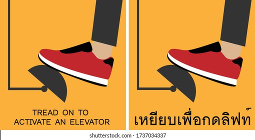 Flat vector isolated design of the new normal using foot pedals to activate an elevator.Stomp to activate an elevator sign.