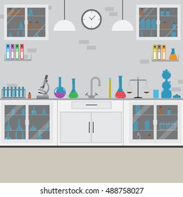 Flat vector laboratory interior design with equipment, furniture, flasks and other stuff, white color furniture
