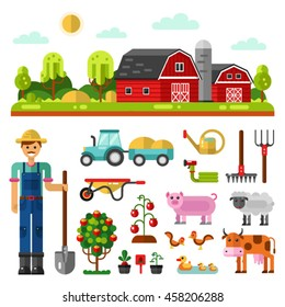 Flat vector landscape illustration with farm building, barn. Including icons of tractor, farm animals, tools or utensils, tree, beds, vegetables, farmer with shovel. Isolated on white background.