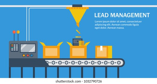 Flat vector lead management, generating business leads with automation conceptual vector