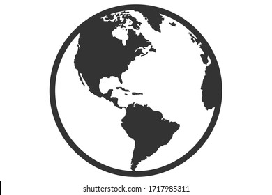 flat vector logo design of the earth